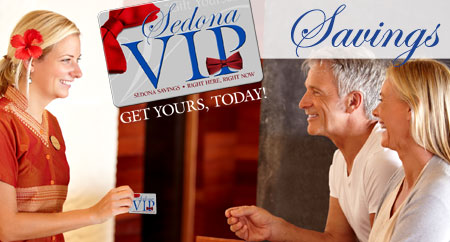 Sedona VIP savings card for discount coupons and deals